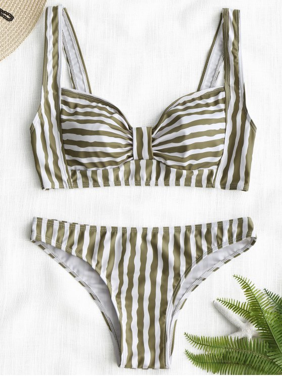 affordable Padding Striped Bikini Set - STRIPE S