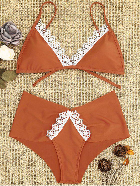 Spitze Gepolsterter Bikini-Set - Roter Zirkon S