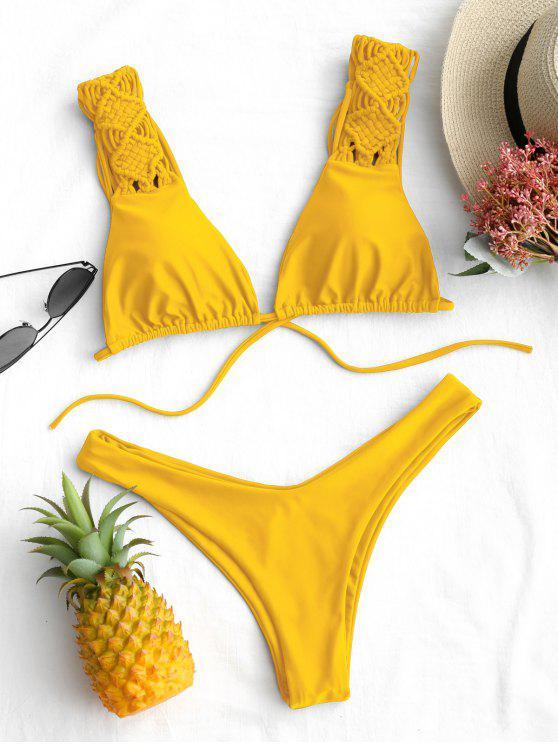 Schnürung Borte hohe geschnitten Bikini Set - Gelb L