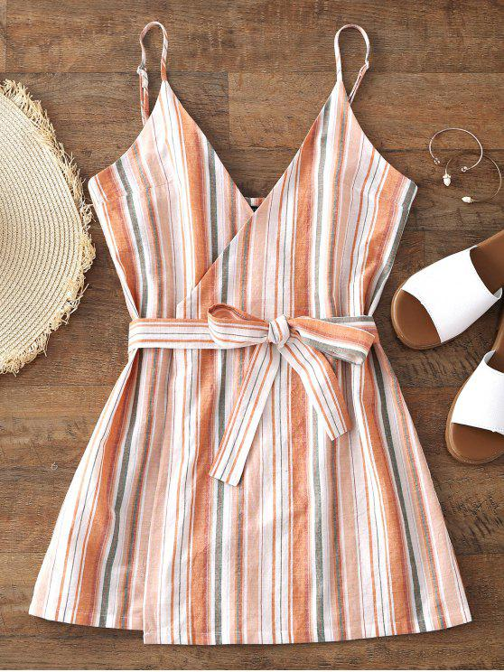 women Belted Wrap Stripes Mini Dress - STRIPE XL