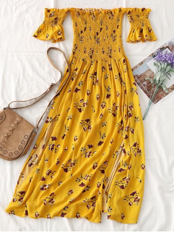 Robe Mi-longue Smockée Florale à Fente à épaules Dénudées - Jaune L
