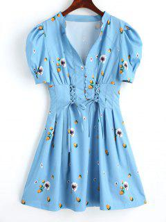 Half Buttoned Floral Lace Up Mini Dress - Lake Blue S