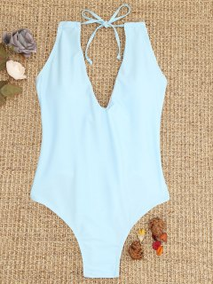 Ties Lace-up One Piece Swimsuit - Light Blue L