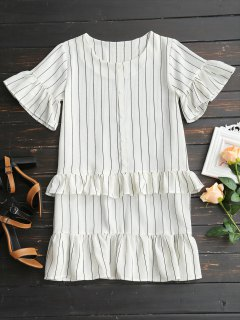 Flare Sleeve Ruffles Striped Shift Dress - White Xl