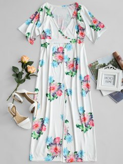 Plunging Neck Floral Print Slit Dress - Floral S