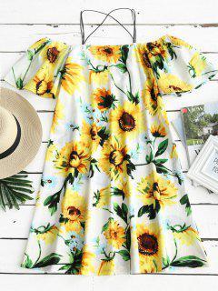 Sunflower Print Cold Shoulder Cami Dress - Floral L