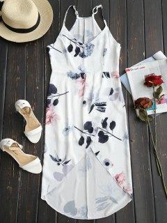Robe à Bretelles Imprimée Florale à Taille Haute - Blanc Xl