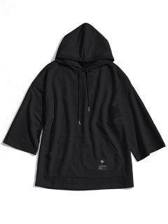Label Kangaroo Pocket Hoodie - Black L