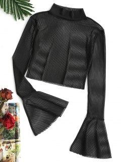 Flare Sleeve Gestreifte Schiere Netzbluse - Schwarz S