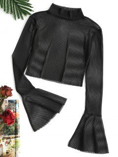 Flare Sleeve Striped Sheer Mesh Blouse - Black L