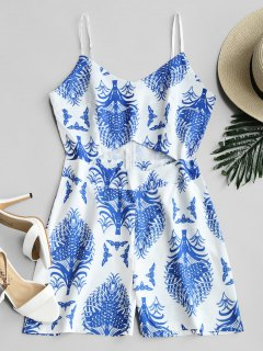Cut Out Front Plant Print Cami Romper - Blue M