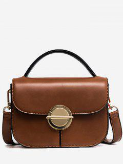 Faux Leather Stitching Metal Crossbody Bag - Brown