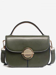 Faux Leather Stitching Metal Crossbody Bag - Green