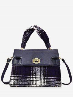 Color Blocking Plaid Handbag With Strap - Blue