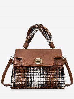 Color Blocking Plaid Handbag With Strap - Brown