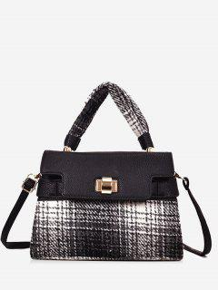 Color Blocking Plaid Handbag With Strap - Black