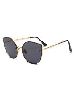 Anti-Fatigue Metal Full Frame Decoration Cat Eye Sunglasses - Gold Frame + Black Lens