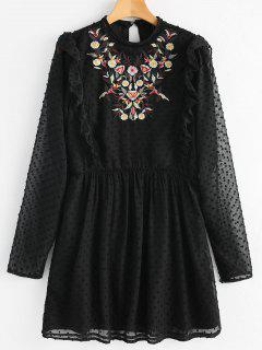 Floral Patched Ruffles Embellished Dress - Black M
