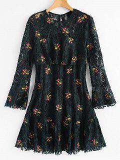 Vestido De Encaje Flounce Manga Floral Flare - Verde Negruzco M