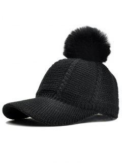 Stripe Pattern Crochet Knitted Pom Pom Baseball Hat - Black