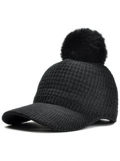 Simple Crochet Knitted Pom Pom Snapback Hat - Black