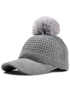 Simple Crochet Knitted Pom Pom Snapback Hat - Gray