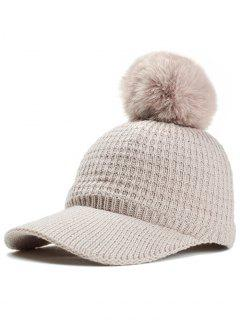 Simple Crochet Knitted Pom Pom Baseball Cap - Beige