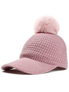Simple Crochet Knitted Pom Pom Snapback Hat - Pink