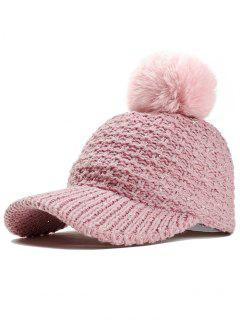 Fuzzy Ball Decorated Sequins Knitted Baseball Cap - Pink