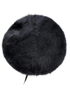 French Style Woolen Blend Beret Beanie - Black