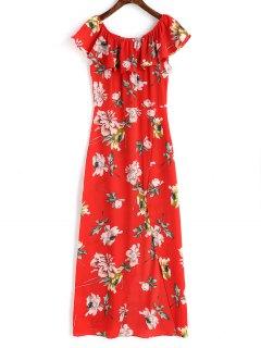 Robe Longue Florale à Fente Latérale à épaules Dénudées - Rouge M