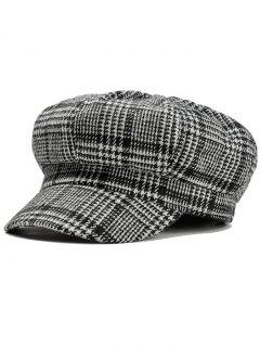 Houndstooth Pattern Embellished Newsboy Hat - Black