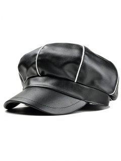 Stripe Pattern Embellished Faux Leather Painter Hat - Black