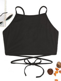 Self Tie Strappy Back Crop Top - Black S