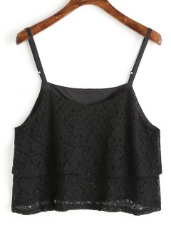 Cami Overlay Lace Top - Black S