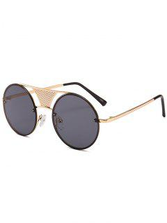 Hollow Out Crossbar Embellished Round Sunglasses - Black Grey