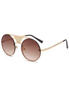 Hollow Out Crossbar Embellished Round Sunglasses - Gold Frame + Dark Brown Lens
