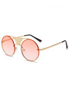 Hollow Out Crossbar Embellished Round Sunglasses - Gradual Pink