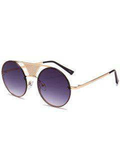 Hollow Out Crossbar Embellished Round Sunglasses - Gold Frame+grey Lens