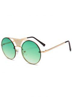 Hollow Out Crossbar Embellished Round Sunglasses - Gradual Green