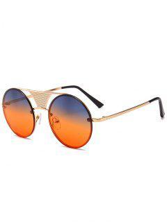 Gafas De Sol Redondas Con Adornos Y Barras Transversales Ahuecadas - Amarillo Azulado