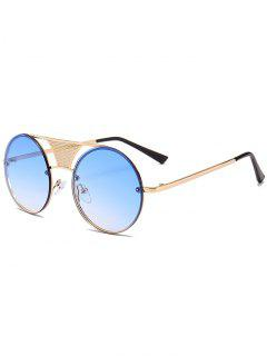 Hollow Out Crossbar Embellished Round Sunglasses - Ice Blue