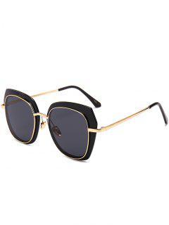 Anti-Fatigue Metal Full Frame Cat Eye Sunglasses - Black Grey