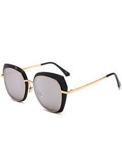Anti-Fatigue Metal Full Frame Cat Eye Sunglasses - Reflective White Color