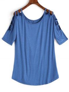 Scoop Ladder Cut T-shirt - Blue Xl
