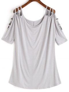 Scoop Ladder Cut T-shirt - Light Gray L