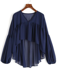 Balloon Sleeve High Low Chiffon Blouse - Purplish Blue L