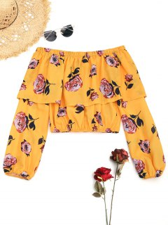 Floral Off The Shoulder Overlay Blouse - Yellow L