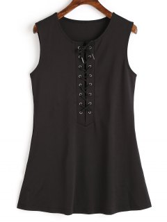 Sleeveless Lace Up Mini Dress - Black Xl