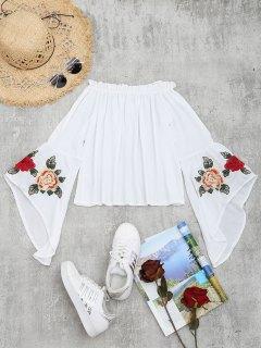 Rüschen Flare Ärmel Blumen Bestickte Bluse - Weiß L